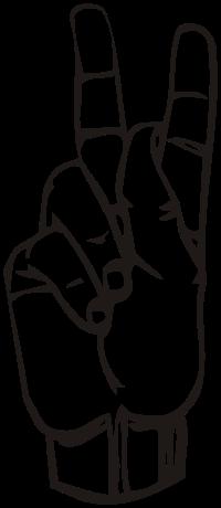 ASL letter for: k