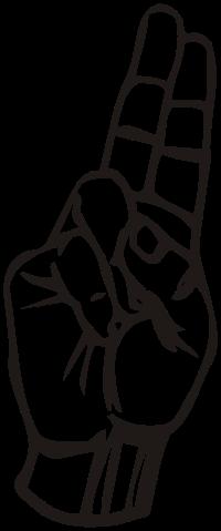 ASL letter for: u